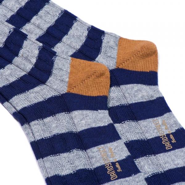 Calzino in cashmere blu e grigio Softy 47-3