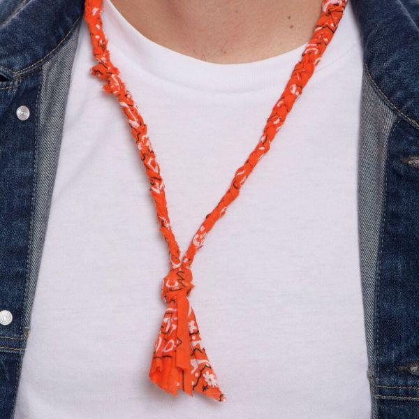 """Collana """"Salvador"""" a bandana arancione intrecciata per uomo"""