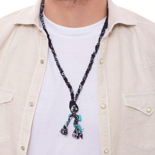 """Collana uomo """"Loja"""" a bandana nera con pietre di turchese"""