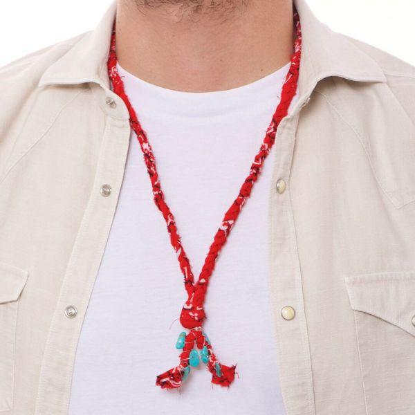 """Collana uomo """"Valparaiso"""" con bandana rossa con pietre"""