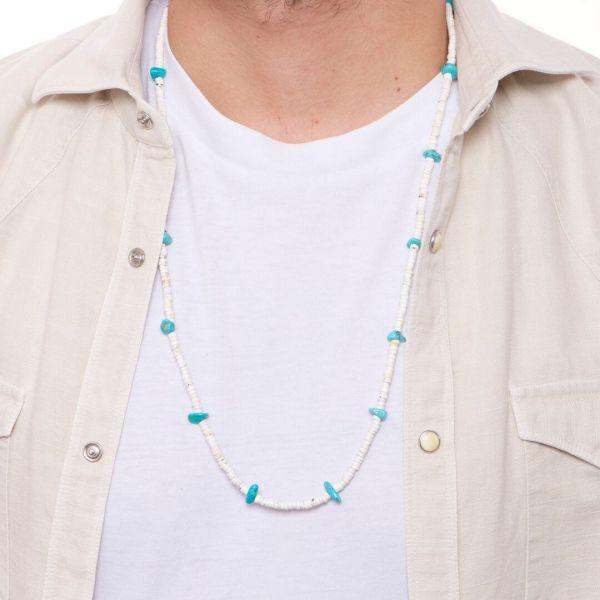 """Collana uomo """"Tahiti"""" con pietre naturali bianche e turchesi"""
