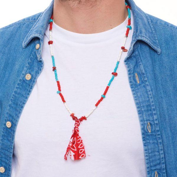 """Collana uomo """"Boras"""" con pietre naturali e vetro rosso"""