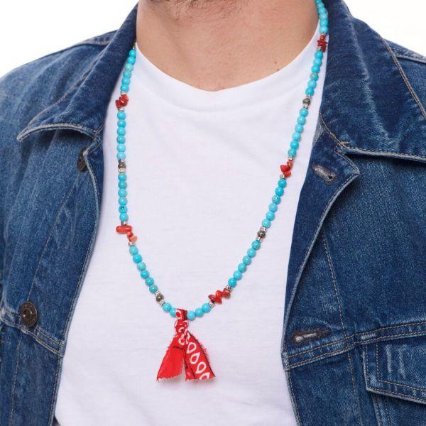 """Collana uomo """"Maupiti"""" con pietre naturali turchesi e rosse"""