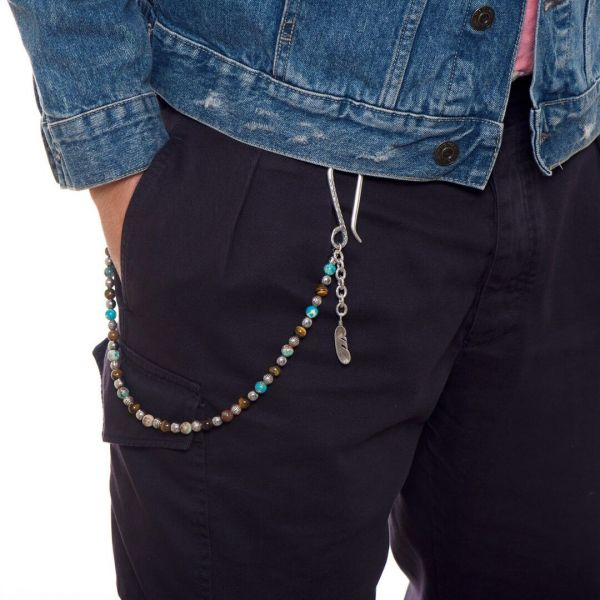 """Catena """"Denver"""" da pantalone con pietra azzurra e marrone"""