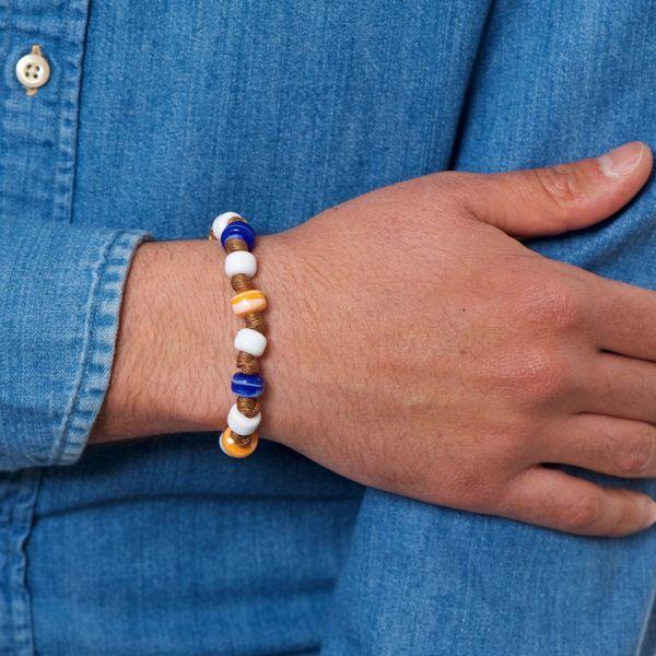 Braccialetto TRESSE con cordino nautico e perle in vetro di Murano arancio e turchese