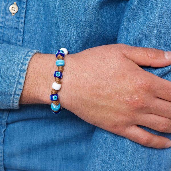 Braccialetto SESSOLA con cordino nautico e perle in vetro di Murano bianco, blu e turchese