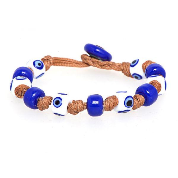 Braccialetto BURANO con cordino nautico e perle in vetro di Murano bianco e blu